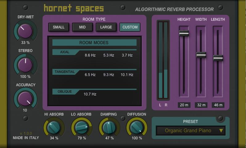 HoRNet Spaces, algorithmic reverb VST plugin, AU, AAX and