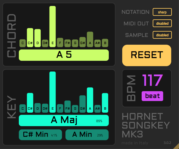 HoRNet SongKey MK3, chord tempo and key finder plugin